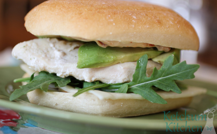 Grilled Chicken Sandwich with Sundried Tomato Mayo, Arugula, Havarti and Avocado