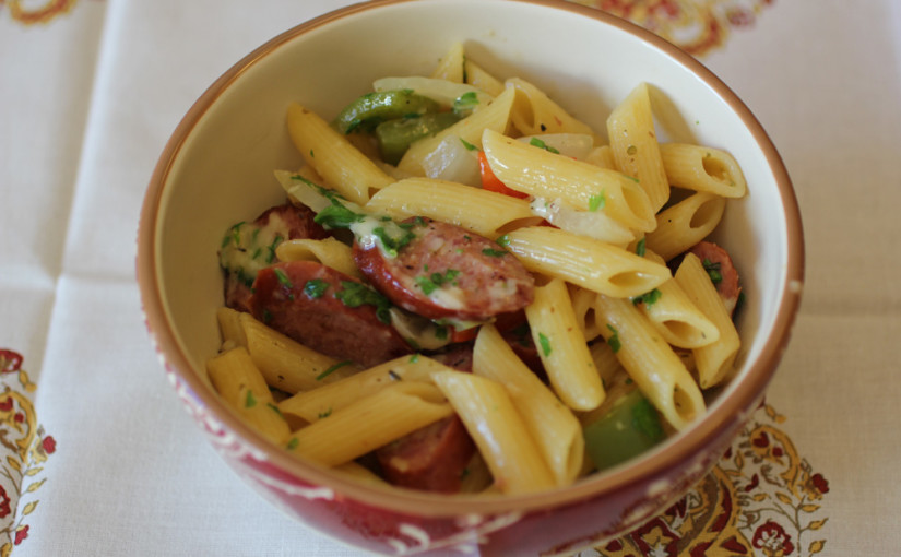 Turkey Kielbasa with Bell Peppers, Onions and Penne Pasta